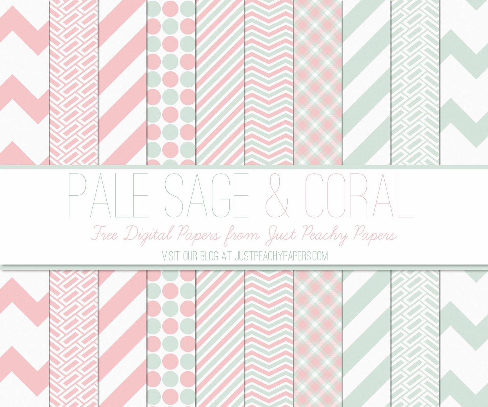 just peachy designs free digital paper pale sage and coral