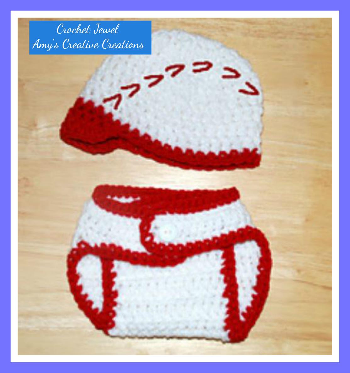 Amy\'s Crochet Creative Creations: Crochet Baseball Hat & Diaper ...