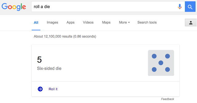 Google Easter Eggs - roll a die