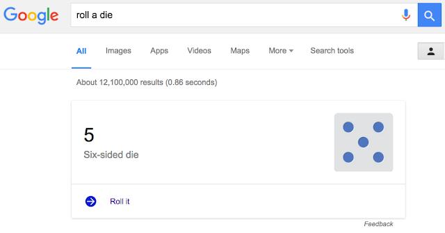 Google Easter Eggs - roll a die
