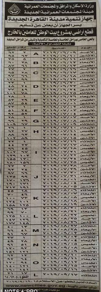 """بالارقام جدول مواعيد تسليم أراضي """"بيت الوطن"""" المرحلة الخامسة والتكميليلة التجمع الخامس القاهرة الجديدة"""