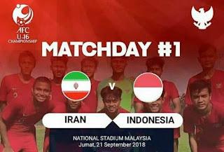 Iran vs Indonesia 0-2 Piala Asia U-16 2018 Malaysia & Video Gol Bagus
