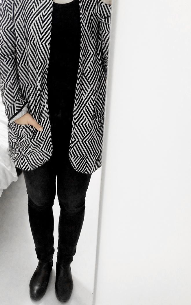 12von12, Outfit, schwarz weiß Zickzack, Alltag