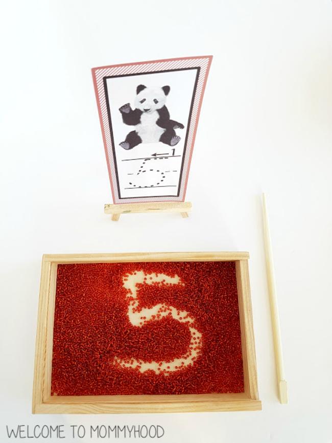 Montessori writing trays by Welcome to Mommyhood #montesori, #writingactivities, #preschoolactivities