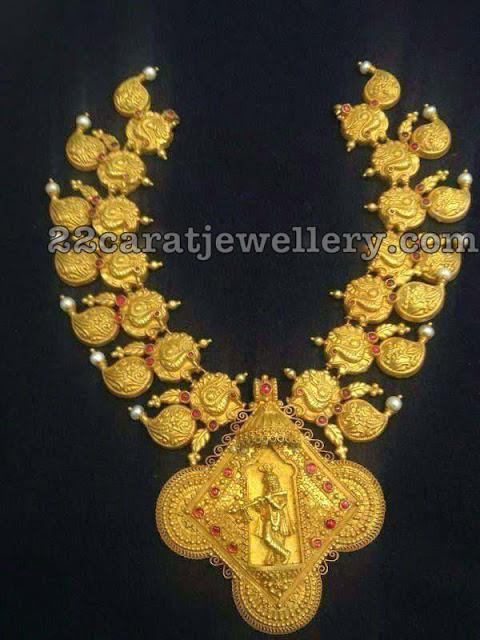 Peacock Mango Necklace with Krishna Locket
