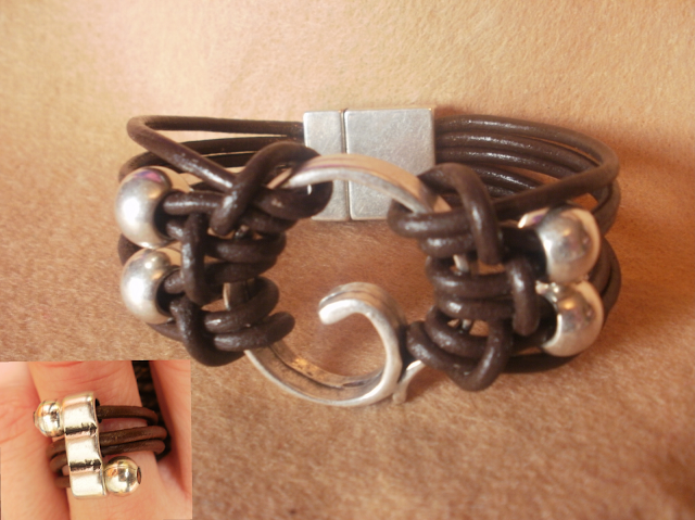 pulsera y anillo de cuero. pulseras y collares