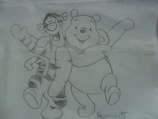 desenho do ursinho pooh e tigrão para pintura em tecido