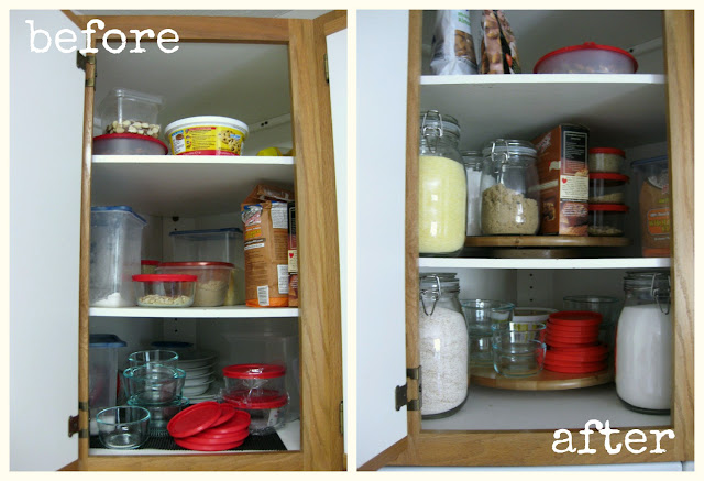 before and after organizing kitchen cupboard