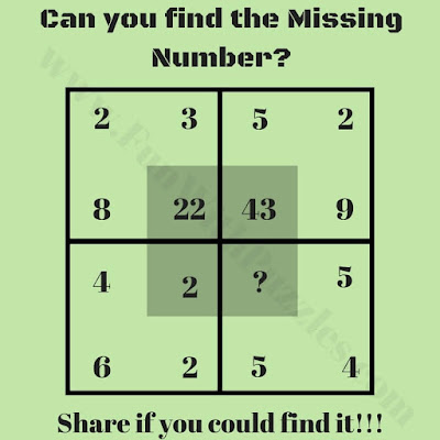 Its is Maths Brain Puzzle Question for school going teens in which your challenge is to find the missing number in one of the square