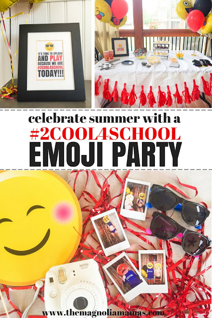 End of school year party idea. A fun emoji themed end of school year party. Fun ideas for a class party, house party, or a pool party. Kick off summer because you are #2Cool4School! Free emoji party printables included!