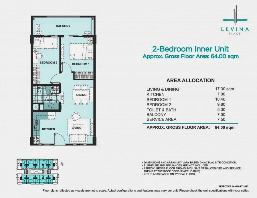 Levina Place 2 Bedroom Unit 64.00 sqm.