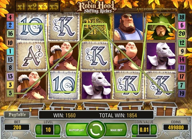 Robin Hood Video Slot Screen