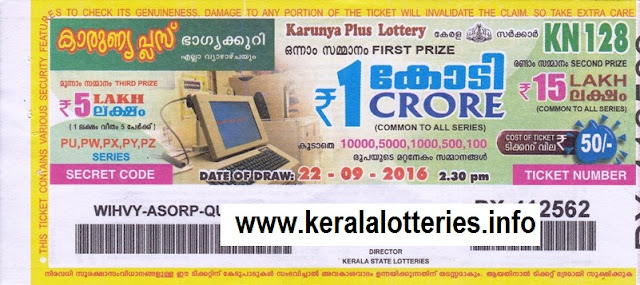 Kerala lottery result of Karunya plus_KN-153 on 23 March 2017