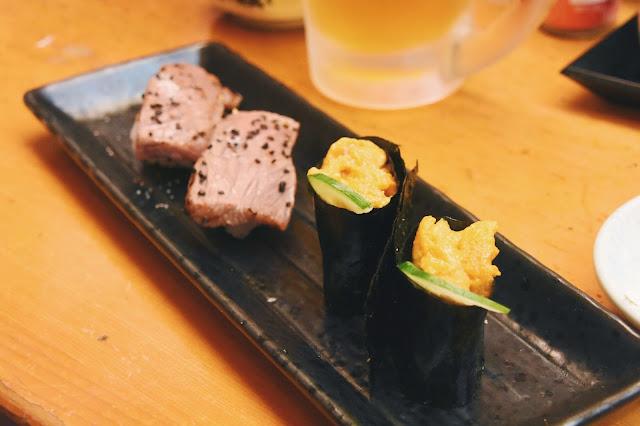 和牛壽司和海膽壽司