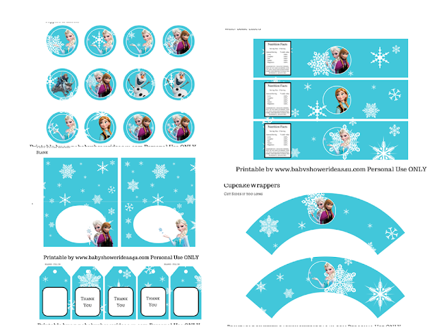 Nice Frozen Free Printable Kit.