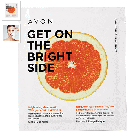 Brightening Sheet Mask with grapefruit and vitamin C instantly moisturizes and leaves skin looking brighter, more even-toned and radiant.
