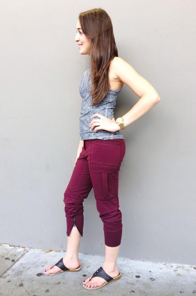 lululemon om and roam tight rust berry