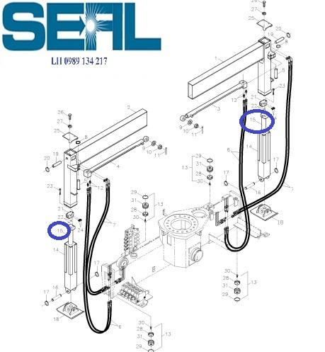Xy lanh nâng và hạ chân cau kanglim 3 tan KS735-KS734-KS733-H1026476R2