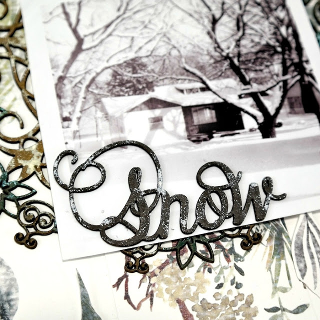 Snow Chipboard Word Title with Black Distress Marker and White Acrylic Paint on a Rustic Winter Scrapbook Layout
