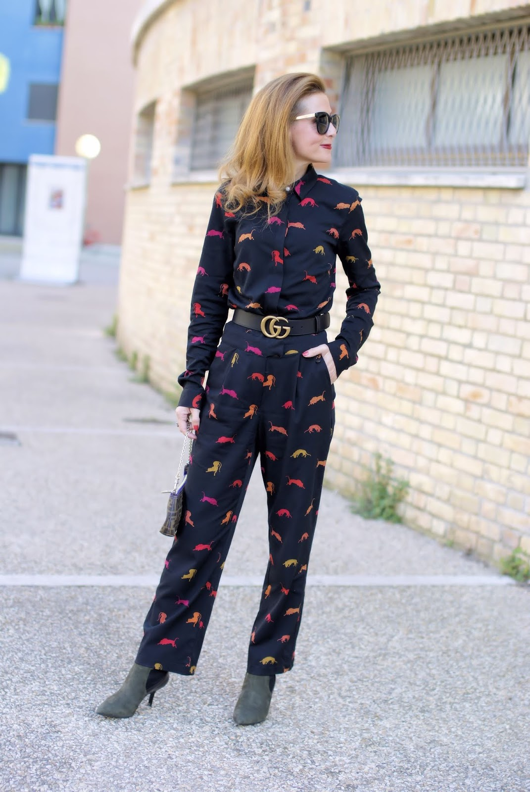 How to wear a day to night jumpsuit: Numph feline print one on Fashion and Cookies fashion blog, fashion blogger style