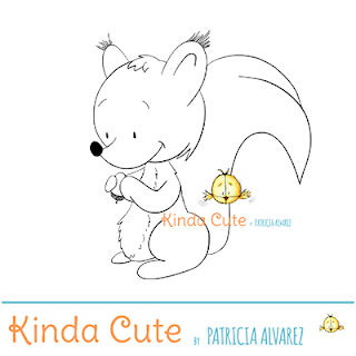 Happy squirrel digital stamp