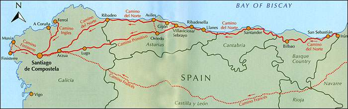 santiago trail spain map with El Camino Del Norte Hiking Across on Nadezhda Tolokonnikova furthermore Lisa Kolumna blogspot as well Rutas Camino Santiago also The Meseta To Hontanas moreover Karte.