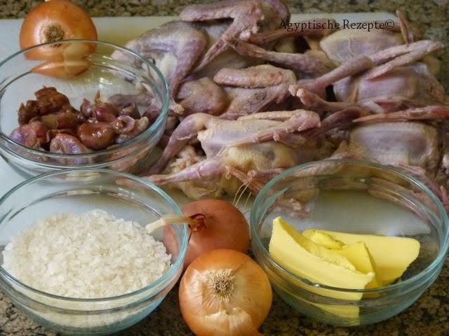 Ägyptische Rezepte Gebratene Tauben Zutaten