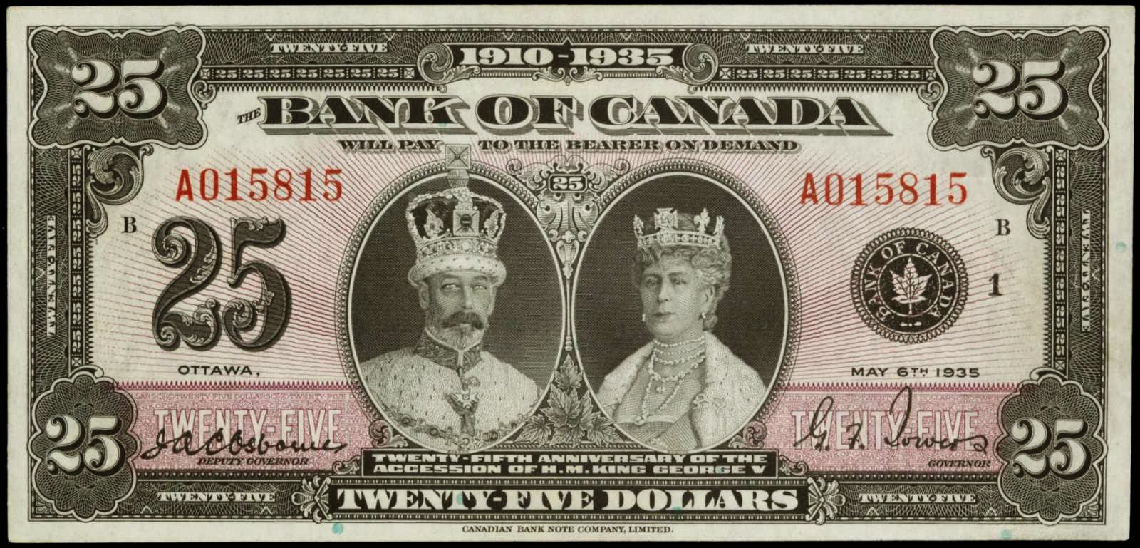 Bank of Canada 25 Dollars Commemorative note 1935, Silver Jubilee of the reign of King George V