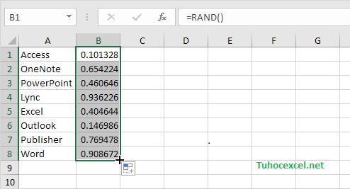 Hàm RAND - Danh sách ngẫu nhiên - Random List