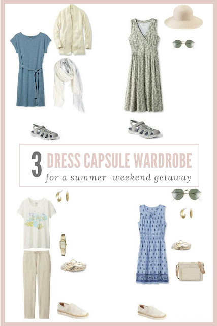 A 3 dress travel capsule wardrobe for a summer weekend getaway