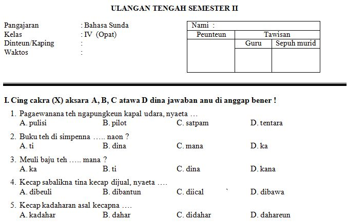 Soal Ukg Sd Guru Kelas Latihan Soal Ukg Guru Kelas Sd Mi Tarbiyatusy Syubban Kalimulyo Bang