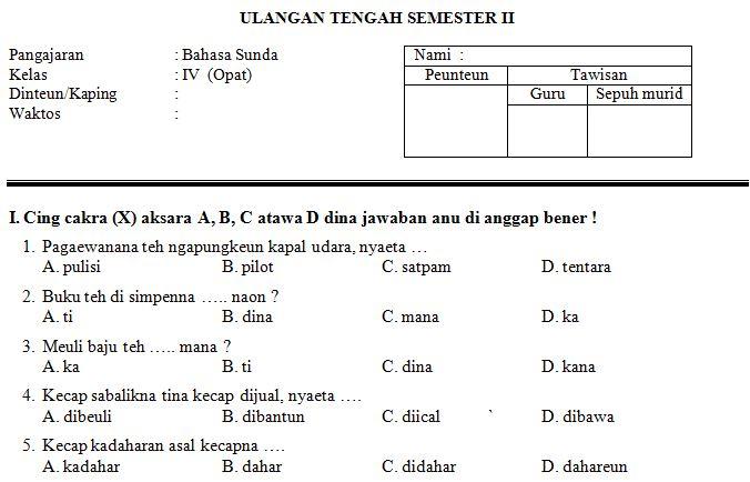 Download Contoh Soal UTS SD/MI Kelas IV Semester 2 Mata Pelajaran Bahasa Sunda Format Microsoft Word