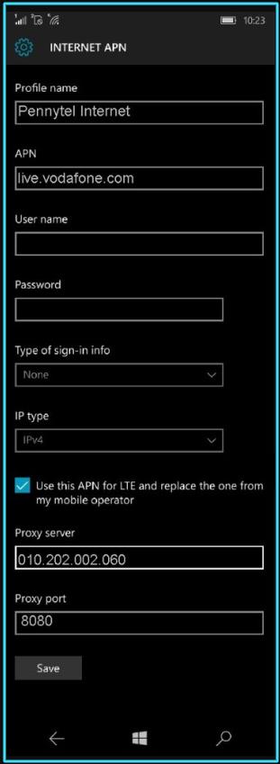 New Pennytel apn settings windows phone