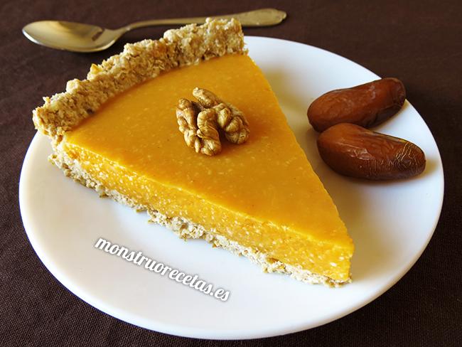 Tarta o pastel de calabaza. Receta saludable y sin horno