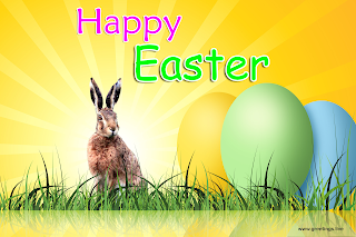 Greetings Live Easter Special wishes Easter Bunny Sun rays back ground with Easter eggs Images.