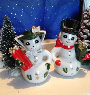 Vintage Snowman Salt and Pepper Shakers