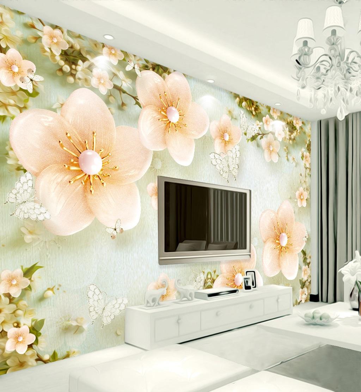 Tranh dán tường 3d hoa bướn ngọc trai