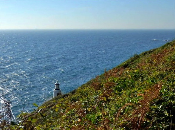 Polperro lighthouse on the cliffs, Cornwall