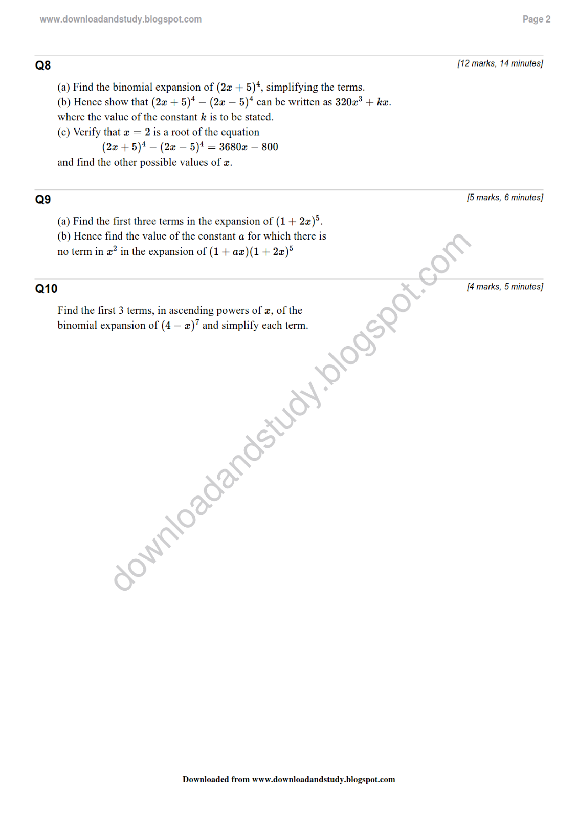 Download Amp Study As Maths Binomial Theorem Revision Test
