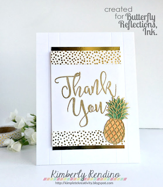 thank you card | handmade card | pineapple | pineapples | vellum | script lettering | gold | embossing | concord & 9th | sunny studio stamps | butterfly reflections, ink | kimpletekreativity.blogspot.com | washi tape