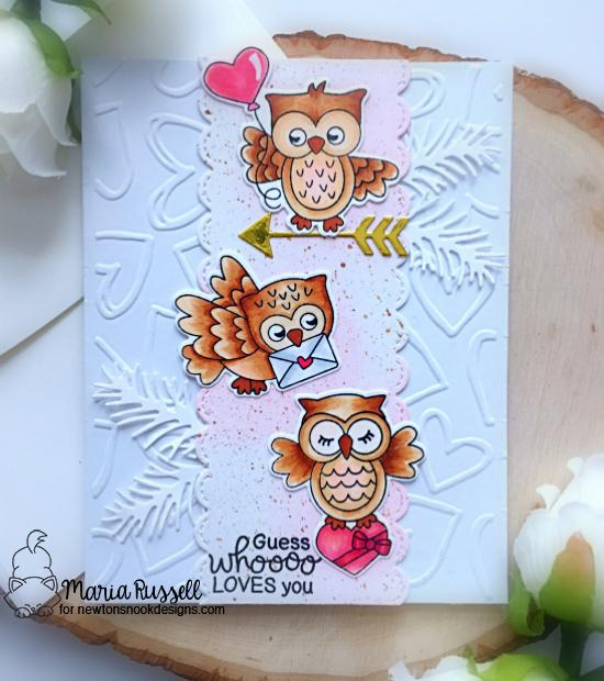 Guess Whooo Loves You Card by Maria Russell | Love Owl-ways Stamp Set and Pines & Holly and Points & Plumes Die Sets by Newton's Nook Designs #newtonsnook #handmade