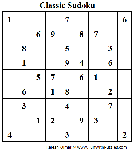 Classic Sudoku (Fun With Sudoku #47)