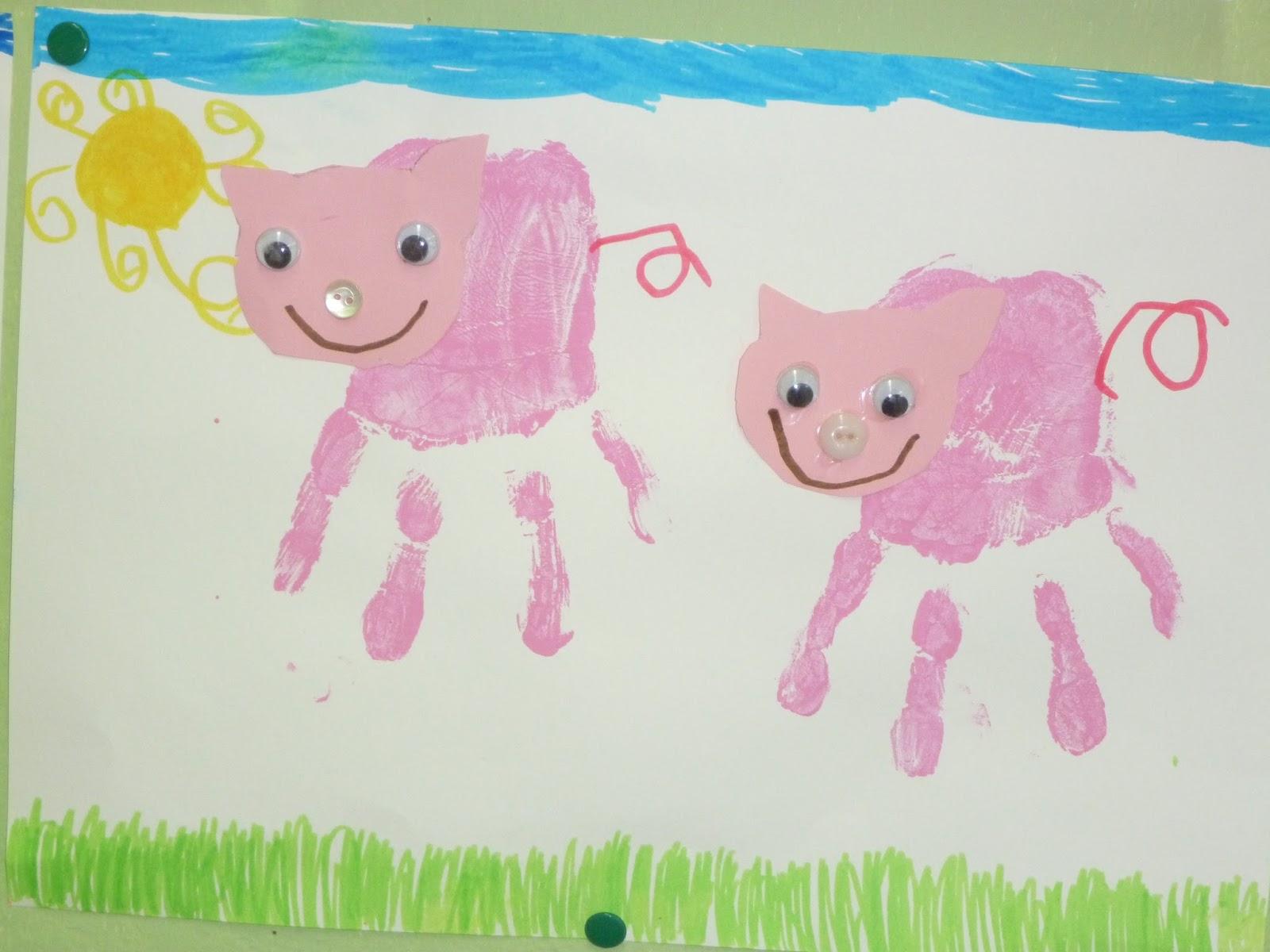 Marlimuus 3 Schweinchen Handabdruck Papierkugelchen Genaht