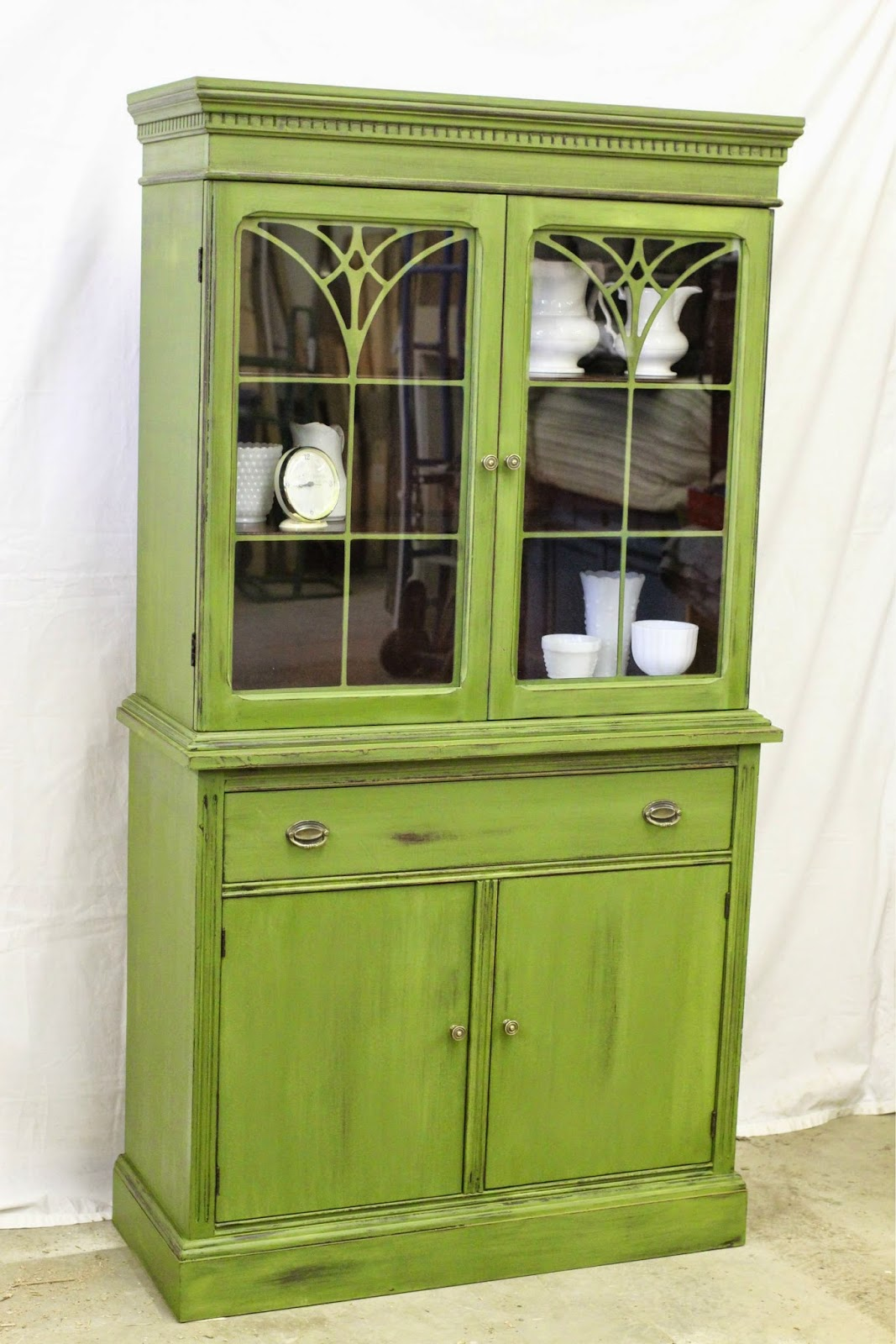 Laurel S Attic Boxwood Green China Cabinet Sold