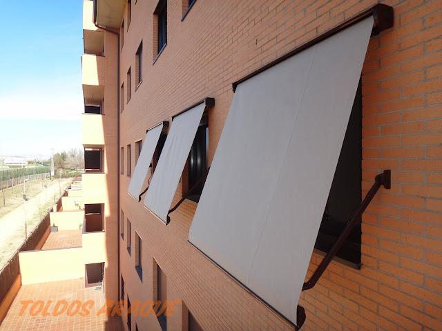 Empresa Toldos en Madrid toldos instaladores Araque Instalación de 3 toldos portada cofres en Pinto Trabajos realizados
