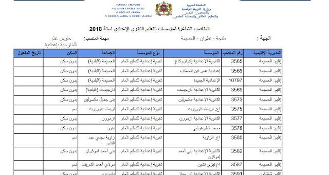 المناصب الشاغرة بالحركة الإدارية لمؤسسات التعليم الثانوي الاعدادي والتأهيلي لسنة 2018