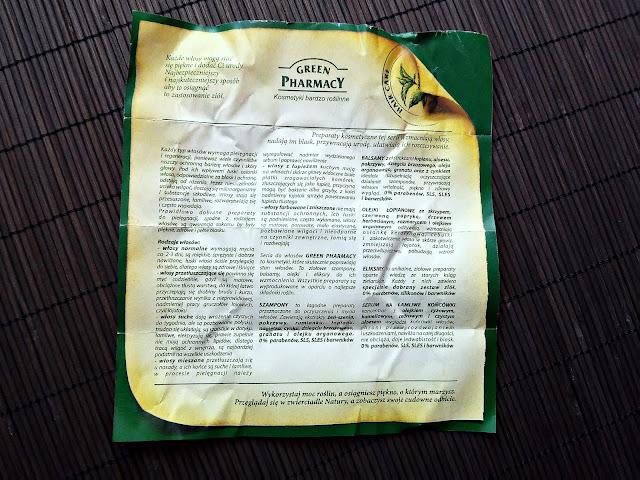 Green Pharmacy - Szampon do włosów normalnych i przetłuszczających się - Nagietek lekarski, ulotka