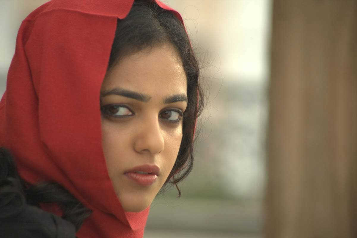 Malayalam Girl Sad Face Close Up Photos Of Nithya Menon In Red Dress
