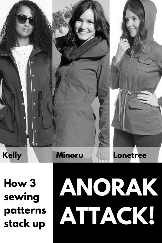 Collage of three anorak patterns: Kelly, Minoru, and Lonetree.