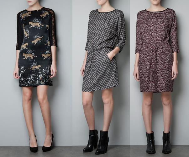 vestidos estampados zara otroño invierno 2012 2013